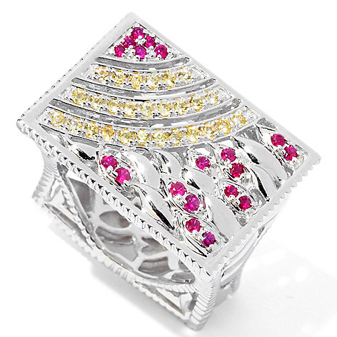 119-480 - Eugenio Designs Sterling Silver Ruby & Yellow Sapphire Rectangle Top Ring