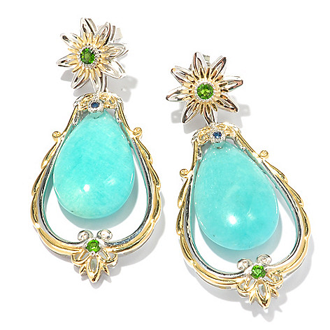 119-519 - Gems en Vogue II 26 x 15mm Amazonite, Chrome Diopside & Sapphire Earrings
