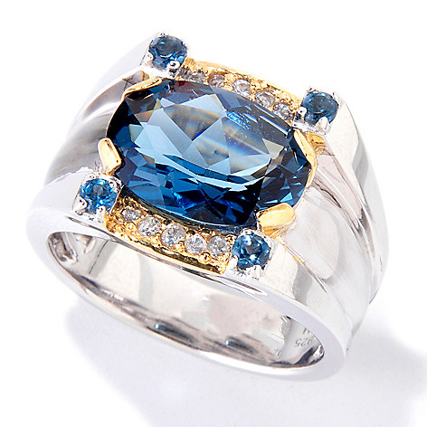 119-524 - Men's en Vogue 7.40ctw London Blue Topaz & White Sapphire Ring
