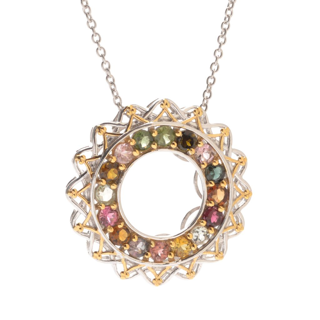 119-585 - Gems en Vogue 2.88ctw Multi Tourmaline Eternity Medallion Pendant w/ Chain