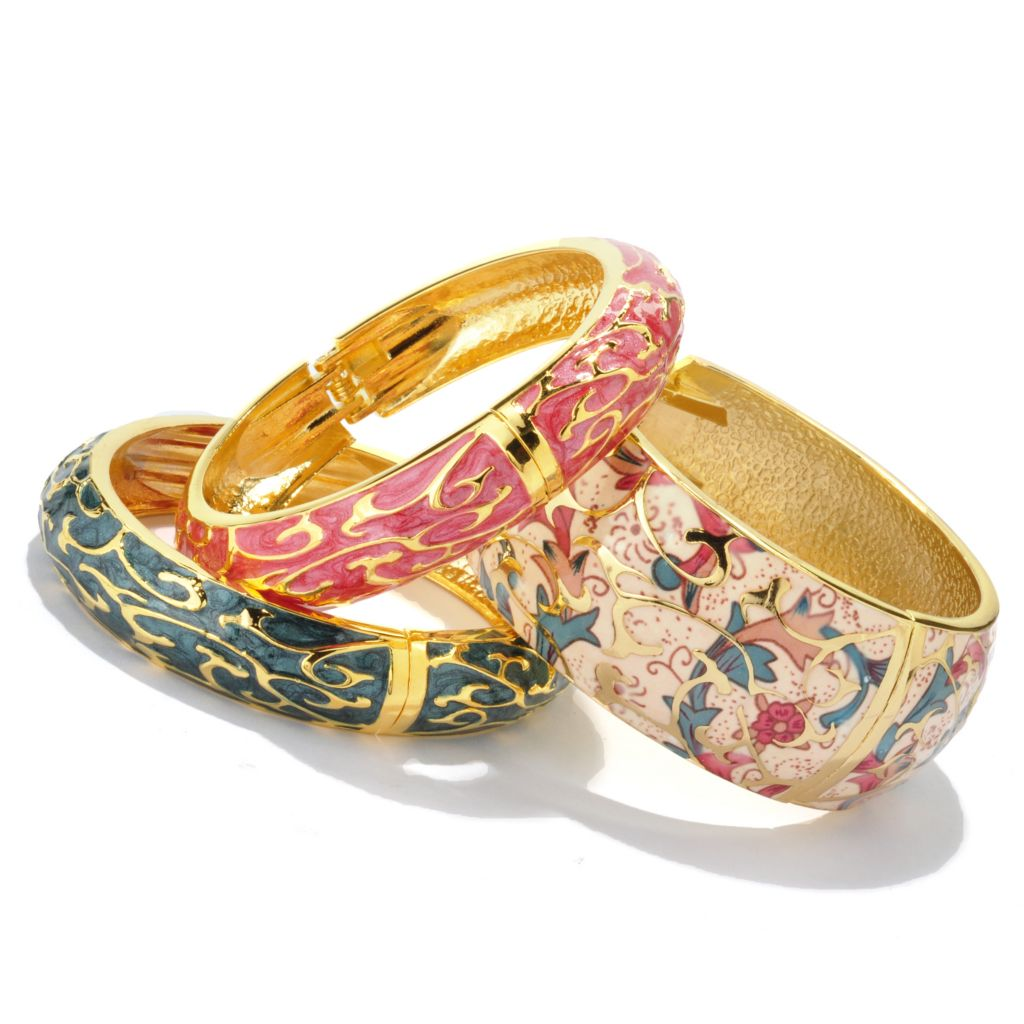 119-704 - Set of Three Hand-Painted Champleve Hinged Bangle Bracelets