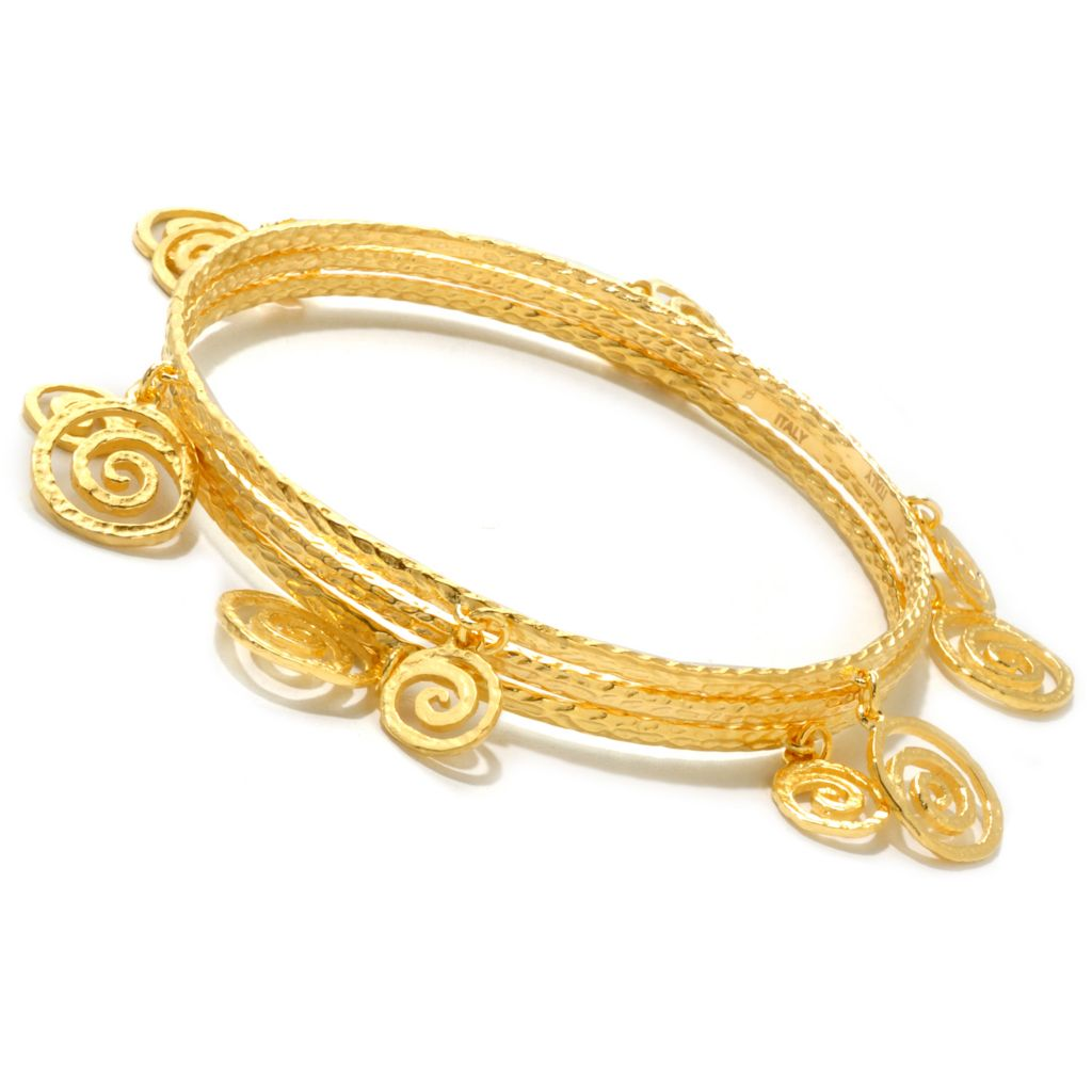 "119-745 - Toscana Italiana 18K Gold Embraced™ Set of Three 8"" Swirl Charm Bangle Bracelets"