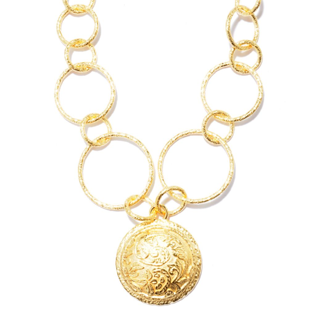 "119-753 - Toscana Italiana 18K Gold Embraced™ 20"" Graduated Rolo & Floral Etruscan Medallion Necklace"