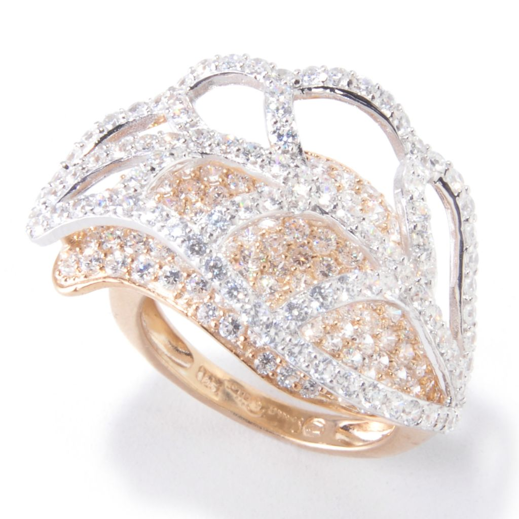 119-842 - Sonia Bitton Two-tone 3.02 DEW Simulated Diamond Layered Leaf Ring