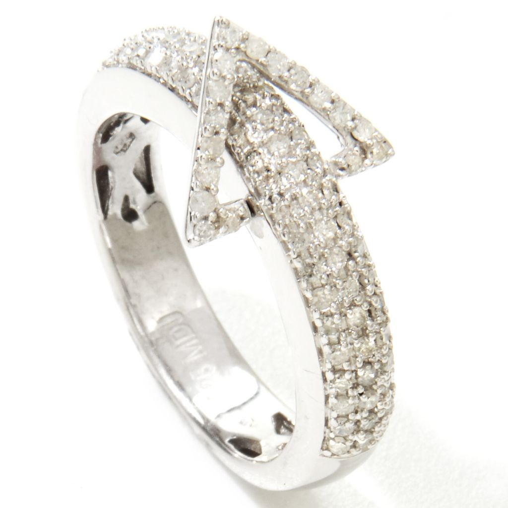 120-047 - Diamond Treasures Sterling Silver 0.33ctw Diamond Triangle Flip Band Ring