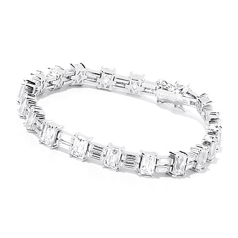 120-169 - TYCOON Platinum Embraced™ Baguette & Rectangle Cut Simulated Diamond Tennis Bracelet