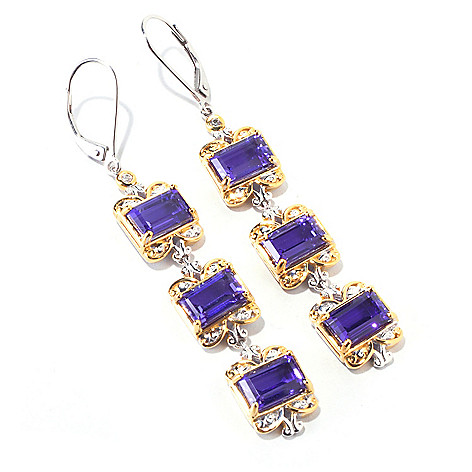 120-180 - Gems en Vogue II 9.94ctw ''Rues du Marais'' Quartz Doublet Trio Drop Earrings
