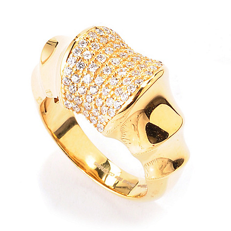 120-224 - Sonia Bitton Gold Embraced™ Simulated Diamond Pave Bamboo Ring