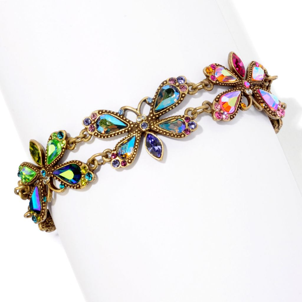 "120-275 - Sweet Romance[ Gold-tone 8"" Vintage Inspired Aurora Crystal Firefly Bracelet"