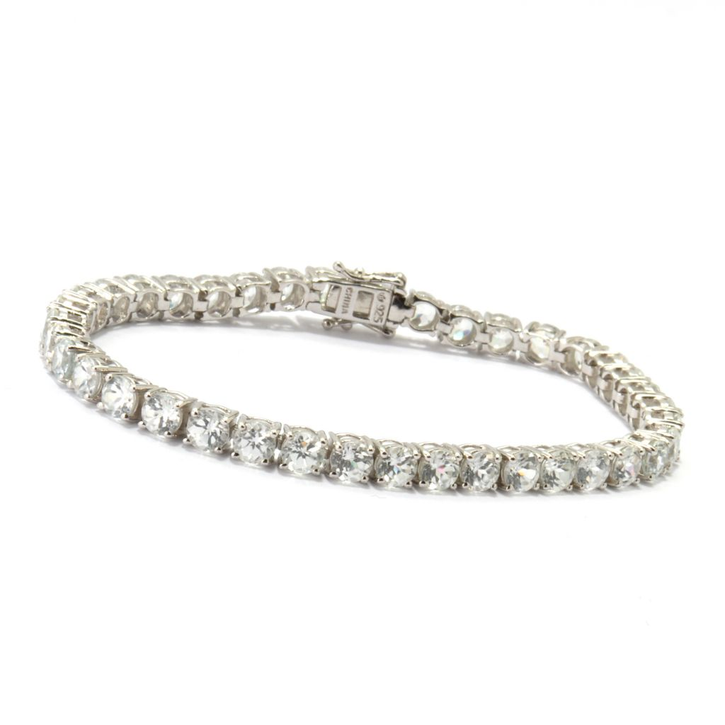 120-373 - Gem Treasures Sterling Silver White Zircon Tennis Bracelet