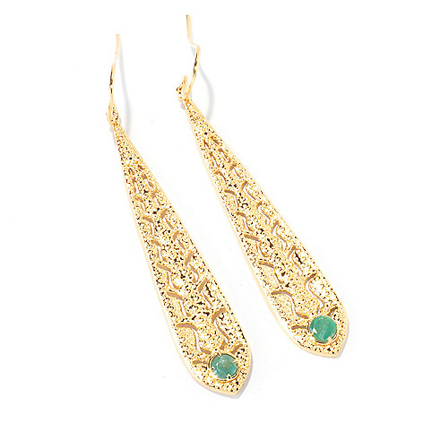 120-401 - Porsamo Bleu Gemstone Elongated & Textured Drop Earrings