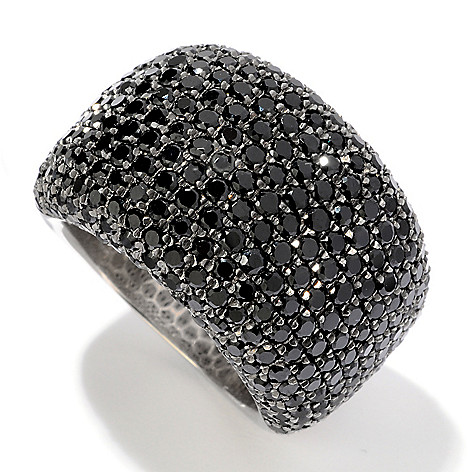 120-416 - Gem Treasures® Sterling Silver 4.18ctw Pave Black Spinel Dome Ring
