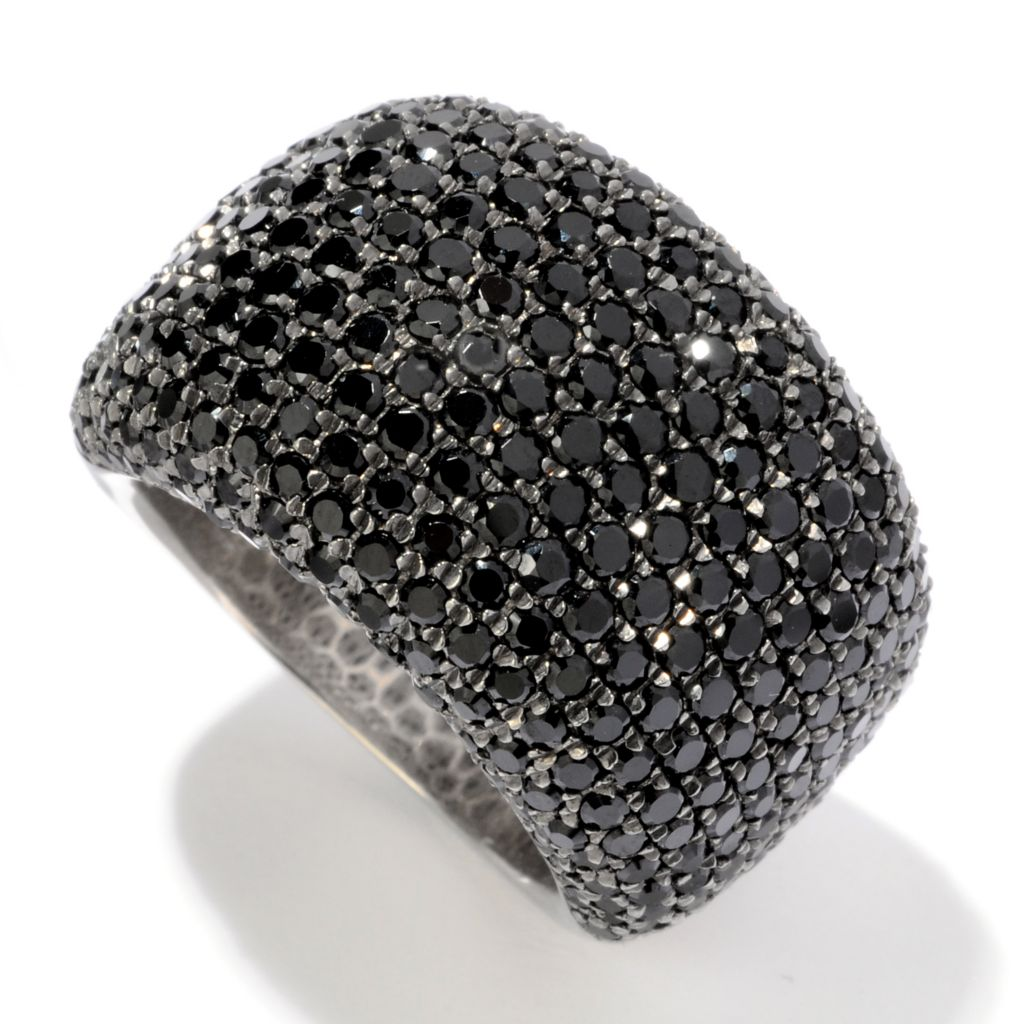 120-416 - Gem Treasures Sterling Silver 4.18ctw Pave Black Spinel Dome Ring