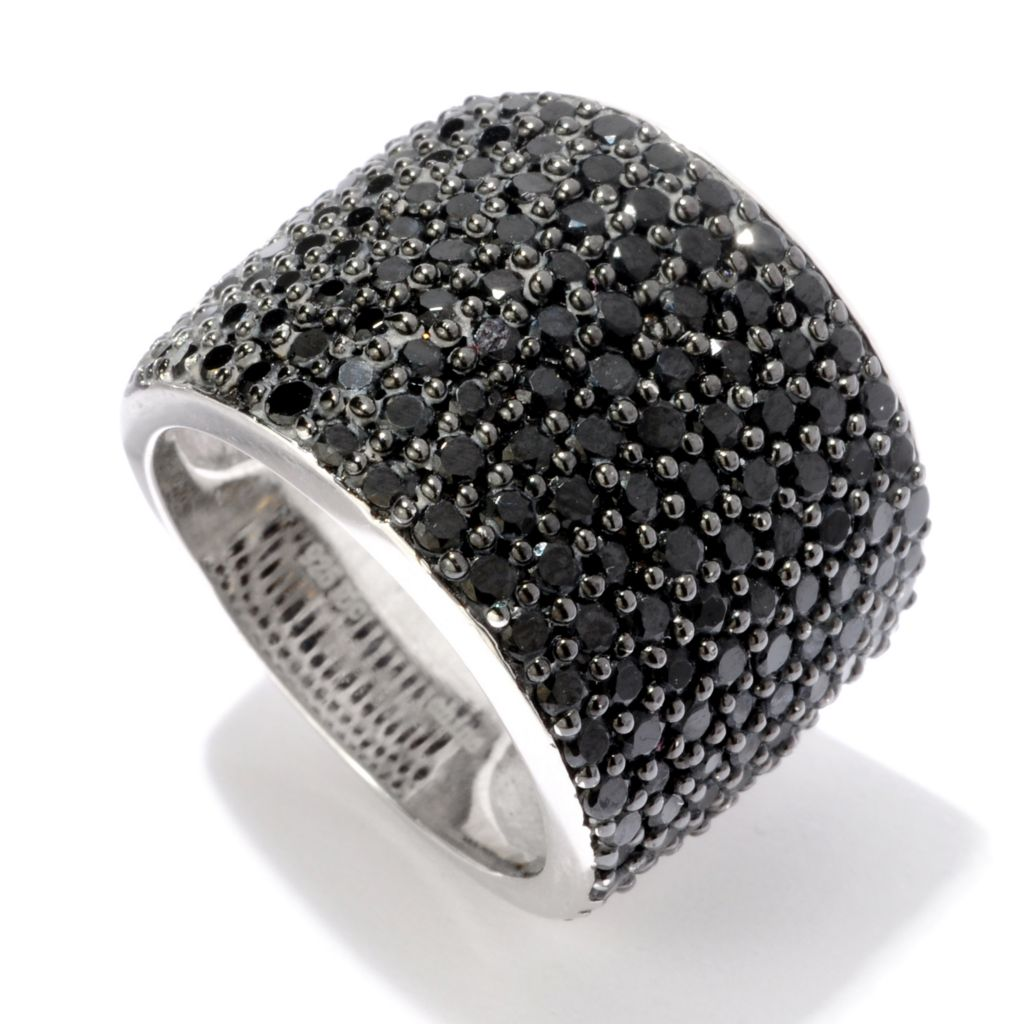 120-417 - Gem Treasures Sterling Silver 2.03ctw Black Spinel Pave Dome Ring