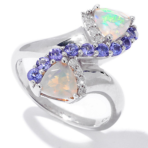 120-430 - Gem Insider Sterling Silver 1.08ctw Ethiopian Opal, Tanzanite & Diamond Ring