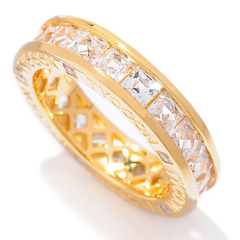 120-433 - TYCOON 3.80 DEW Square Channel Set Simulated Diamond Eternity Band