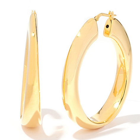 120-489 - Portofino Gold Embraced™ Electroform Reverse Graduated Hoop Earrings