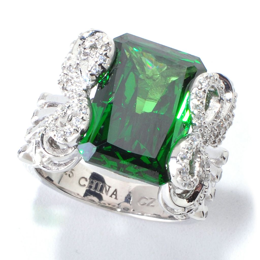 120-502 - Charlie Lapson for Brilliante® Platinum Embraced™ Simulated Emerald Radiant Cut Ring