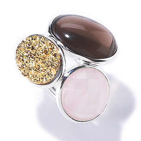 120-520 - SempreSilver® Smoky Quartz, Rose Quartz & Gold Drusy Ring