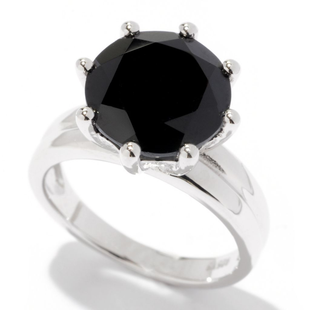 120-525 - Gem Treasures Sterling Silver 11mm Black Spinel Solitaire Ring