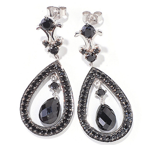 120-528 - Gem Treasures Sterling Silver 1.5'' 6.98ctw Spinel Teardrop Earrings