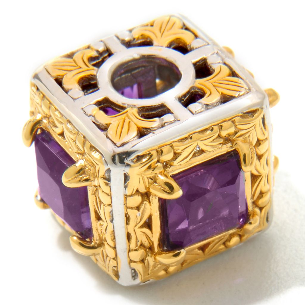 120-535 - Gems en Vogue II 2.44ctw Princess Cut Amethyst Gift Box Cube Charm
