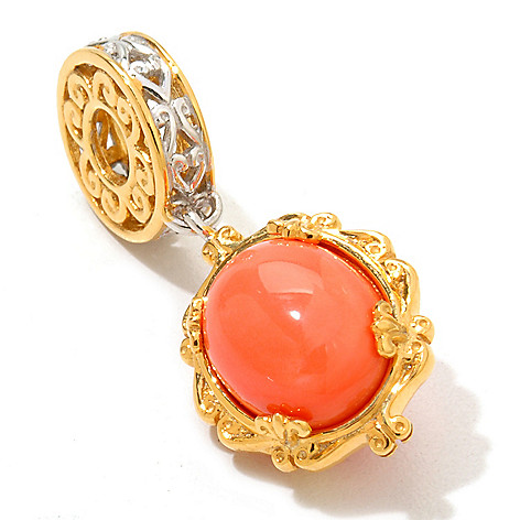 120-536 - Gems en Vogue II 11 x 9mm Dyed Bamboo Coral ''Dreamcatcher'' Charm