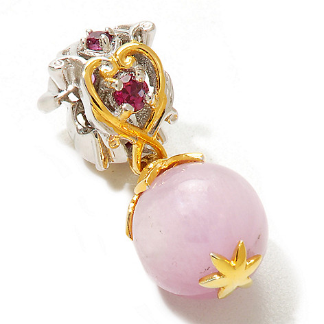 120-544 - Gems en Vogue 10mm Kunzite & Rhodolite Garnet Bead Drop Charm