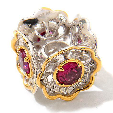 120-549 - Gems en Vogue 1.36ctw Rhodolite Garnet ''Bouquet'' Flower Charm