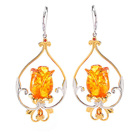 120-551 - Gems en Vogue Carved Amber, Madeira Citrine & Orange Sapphire Tulip Earrings