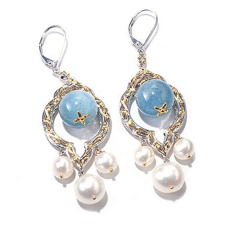 120-556 - Gems en Vogue 12mm Aquamarine & Freshwater Cultured Pearl Earrings