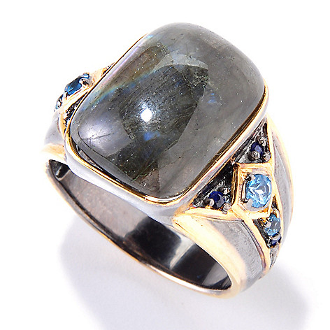 120-557 - Men's en Vogue II 18 x 13mm Labradorite, Swiss Blue Topaz & Sapphire Ring