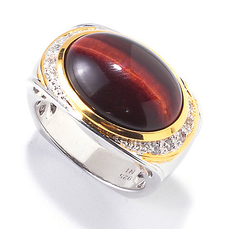 120-558 - Men's en Vogue II 18 x 13mm Tiger's Eye & White Sapphire Ring