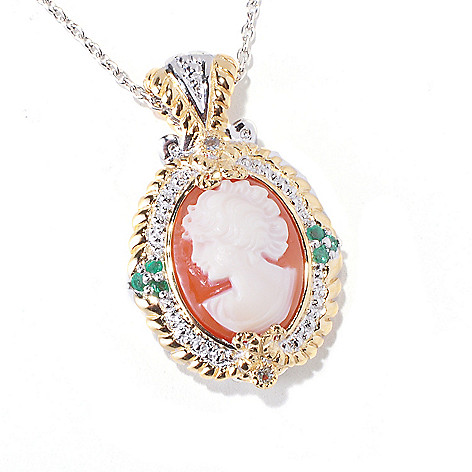 120-560 - Gems en Vogue II Hand-Carved Shell Cameo, Emerald & White Sapphire Pendant w/ Chain