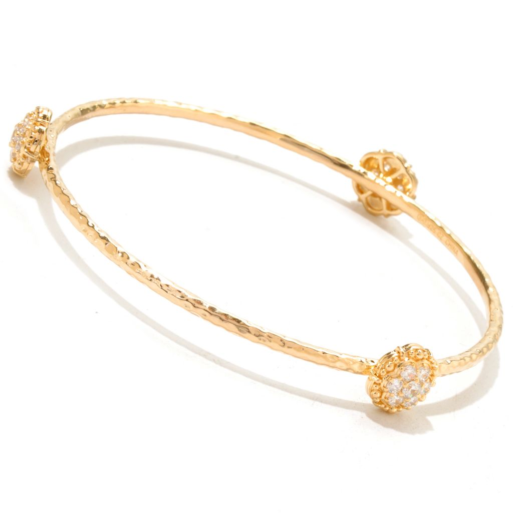 "120-565 - Fern Freeman 8"" Pave Station Simulated Diamond Bangle Bracelet"