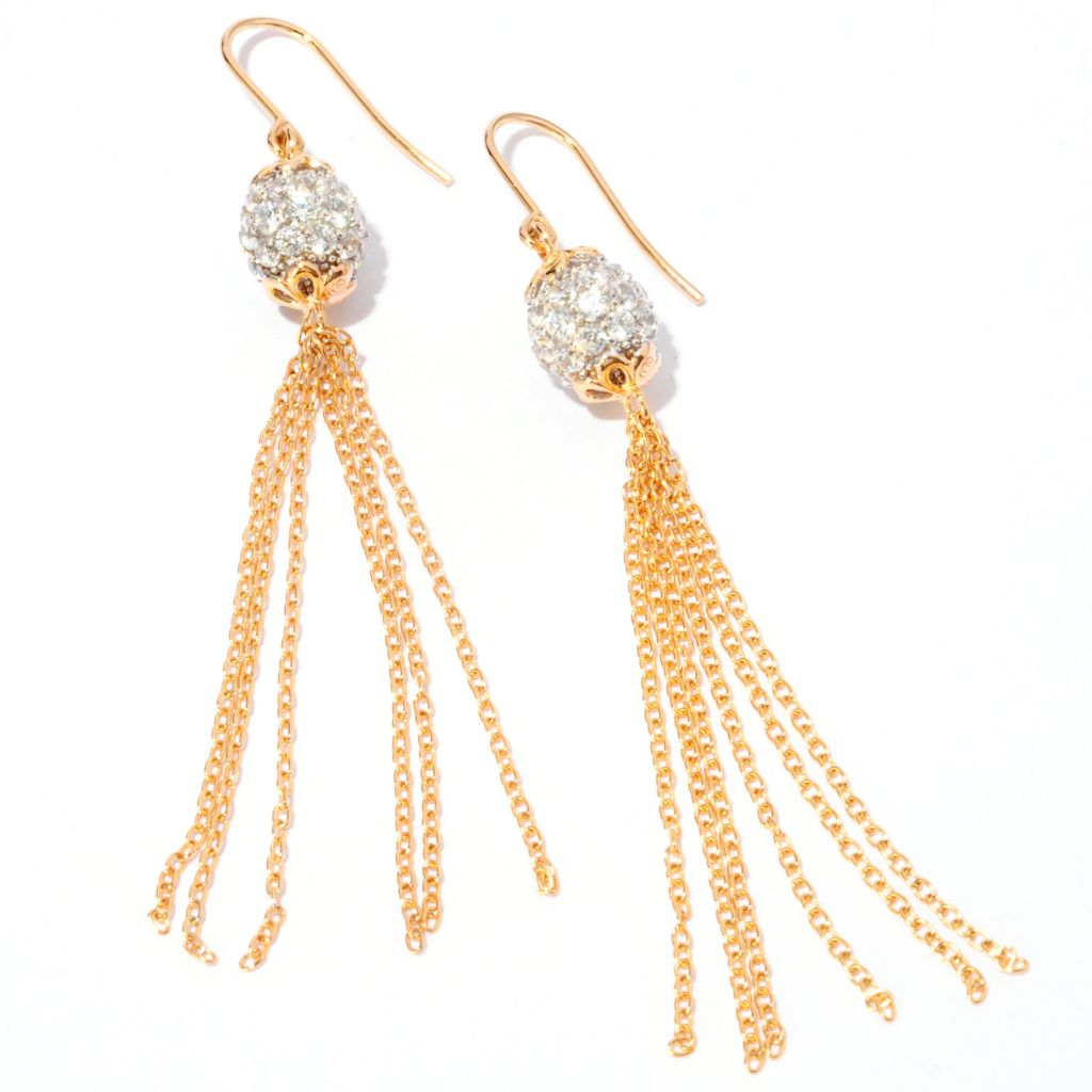 120-578 - Fern Freeman Two-tone 2.40 DEW Simulated Diamond Pave Tassel Earrings