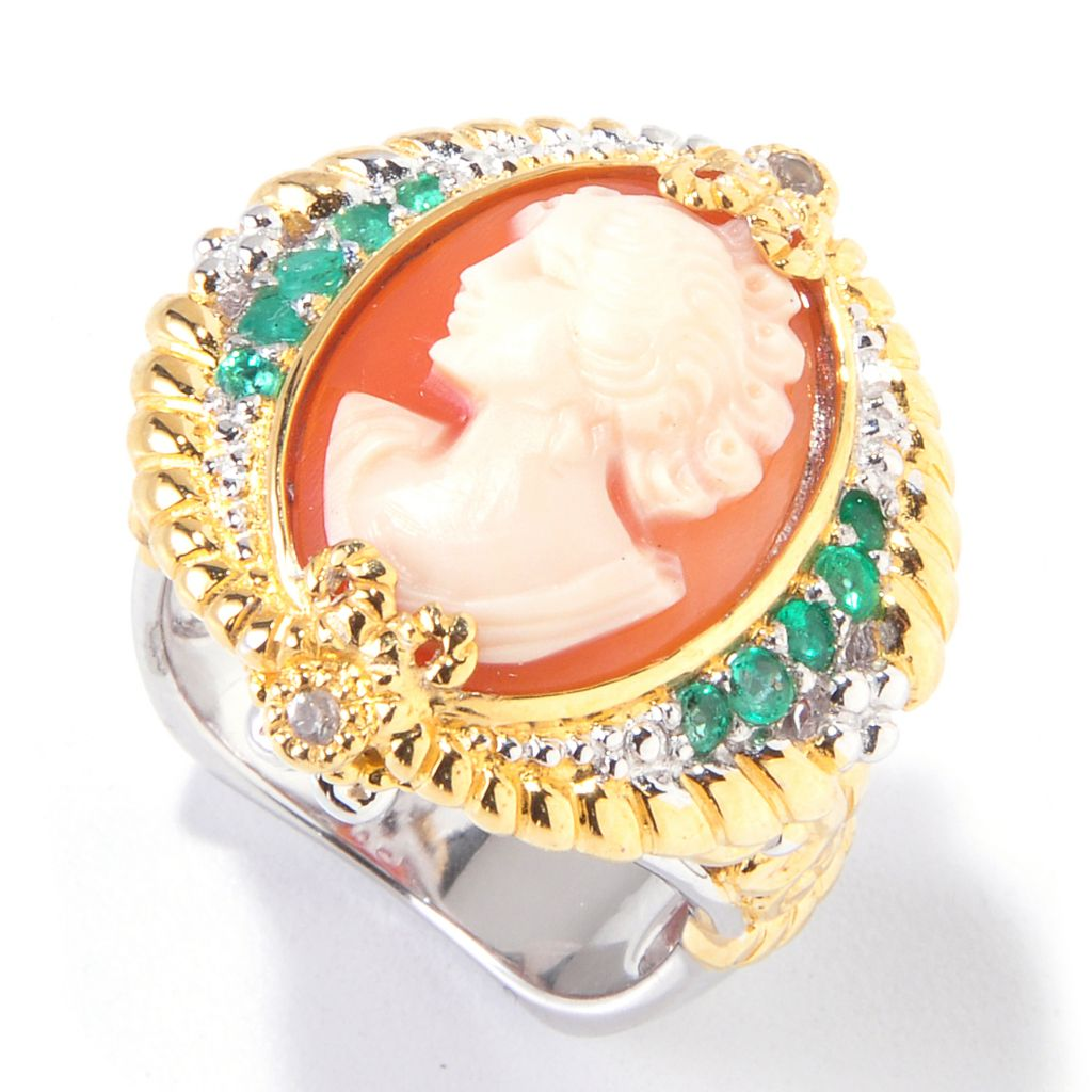 120-613 - Gems en Vogue II Hand-Carved Shell Cameo, Emerald & White Sapphire Ring