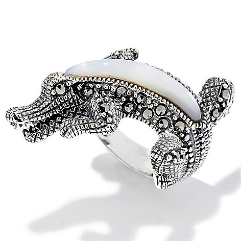 120-620 - Gem Treasures® Sterling Silver Marcasite & Mother-of-Pearl Alligator Ring