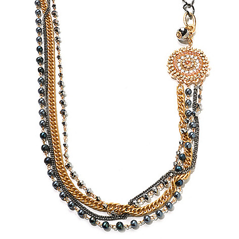 120-630 - Meghan Browne Style Mixed Metal 36'' Black Crystal ''Alexis'' Necklace