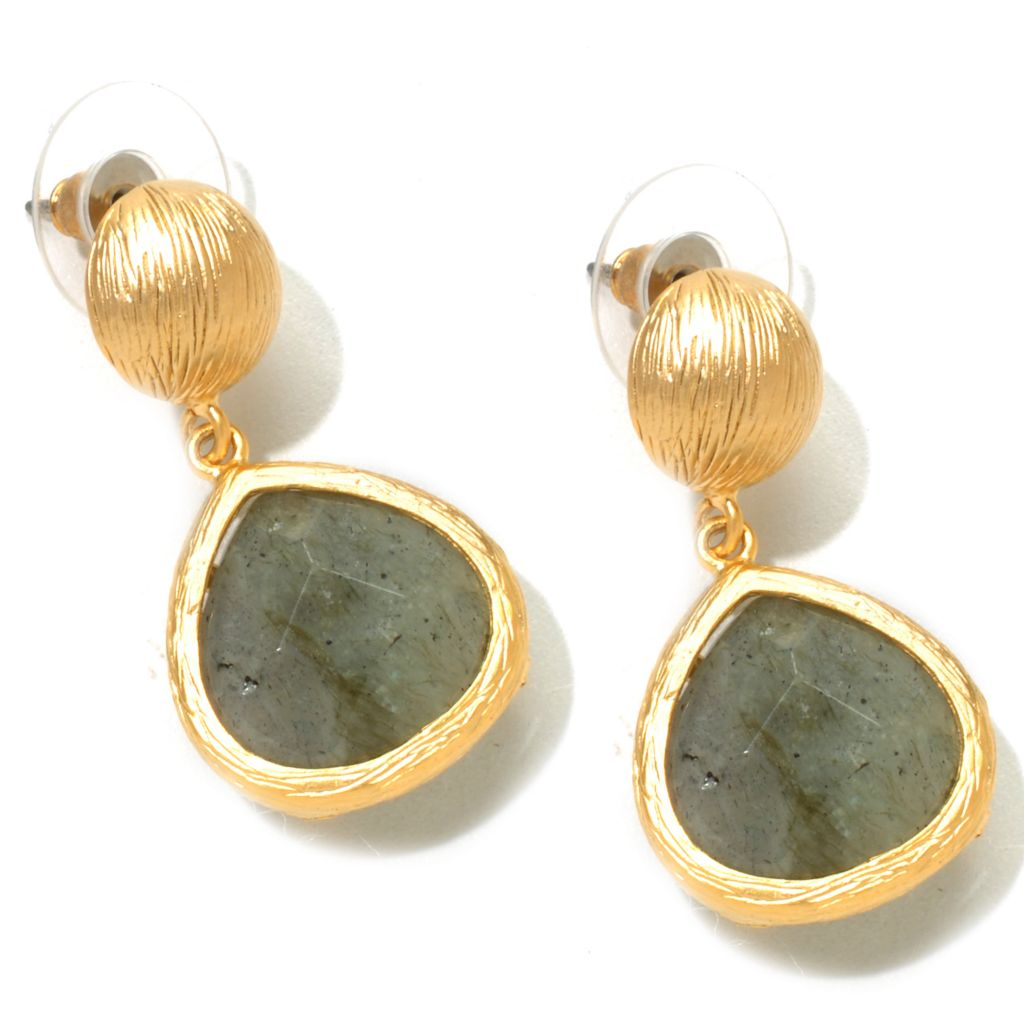 "120-657 - Meghan Browne Style Gold-tone Faceted Stone ""Abbott"" Earrings"