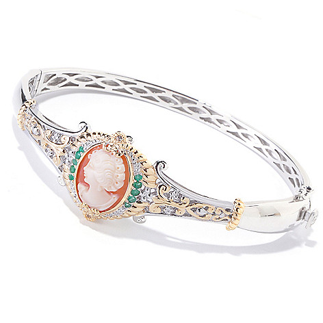 120-659 - Gems en Vogue Hand-Carved Shell Cameo, Emerald & White Sapphire Bangle Bracelet