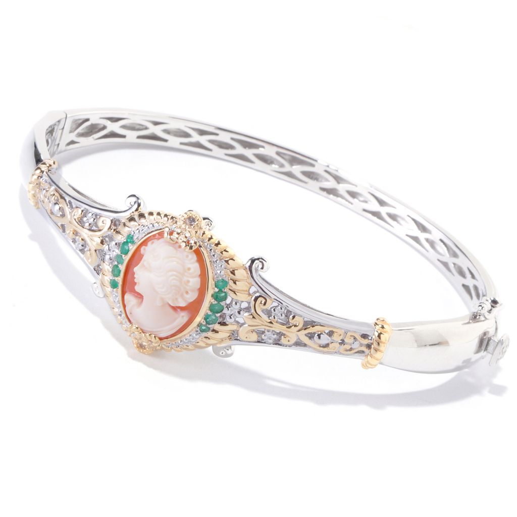 120-659 - Gems en Vogue II Hand-Carved Shell Cameo, Emerald & White Sapphire Bangle Bracelet