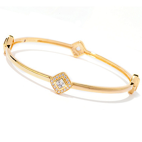 120-687 - TYCOON 1.82 DEW Simulated Diamond Halo Slip-on Bangle Bracelet
