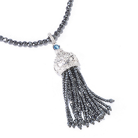 120-711 - Dallas Prince Designs Sterling Silver 34'' Multi Gemstone Tassel Pendant w/ Beaded Chain