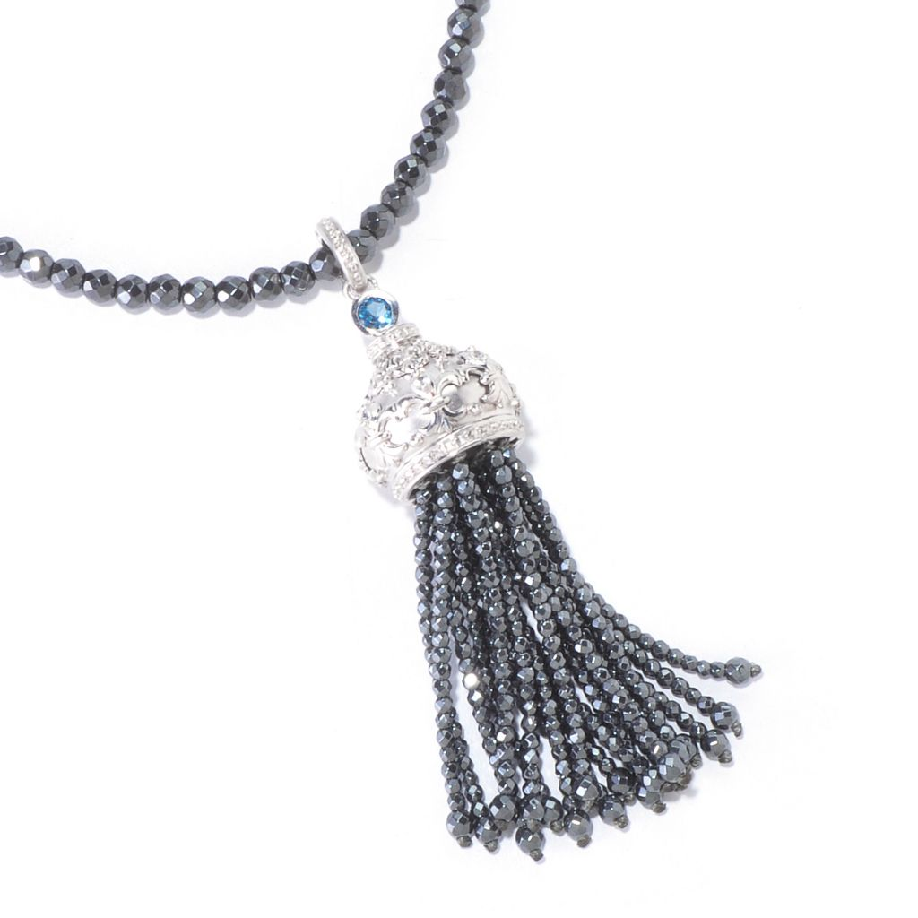 "120-711 - Dallas Prince Designs Sterling Silver 34"" Multi Gemstone Tassel Pendant w/ Beaded Chain"