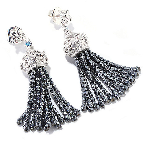 120-712 - Dallas Prince Designs Sterling Silver 2.25'' Multi Gemstone Tassel Drop Earrings