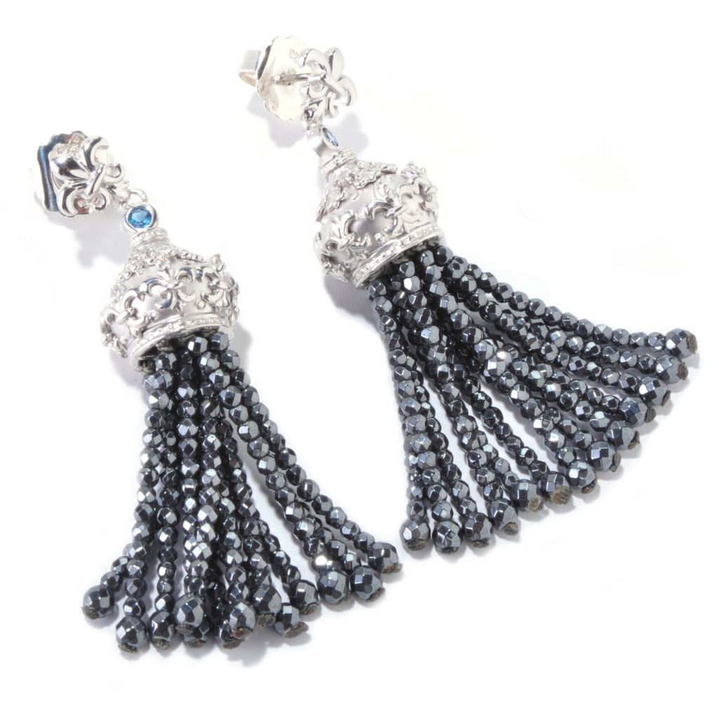 "120-712 - Dallas Prince Designs Sterling Silver 2.25"" Multi Gemstone Tassel Drop Earrings"