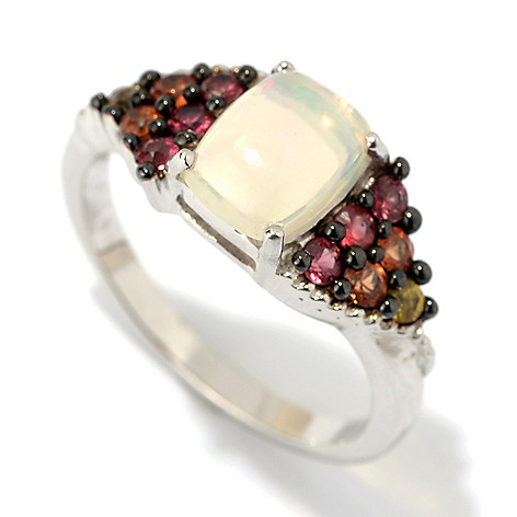 120-718 - Gem Insider® Sterling Silver 8 x 6mm Ethiopian Opal & Fancy Sapphire Ring