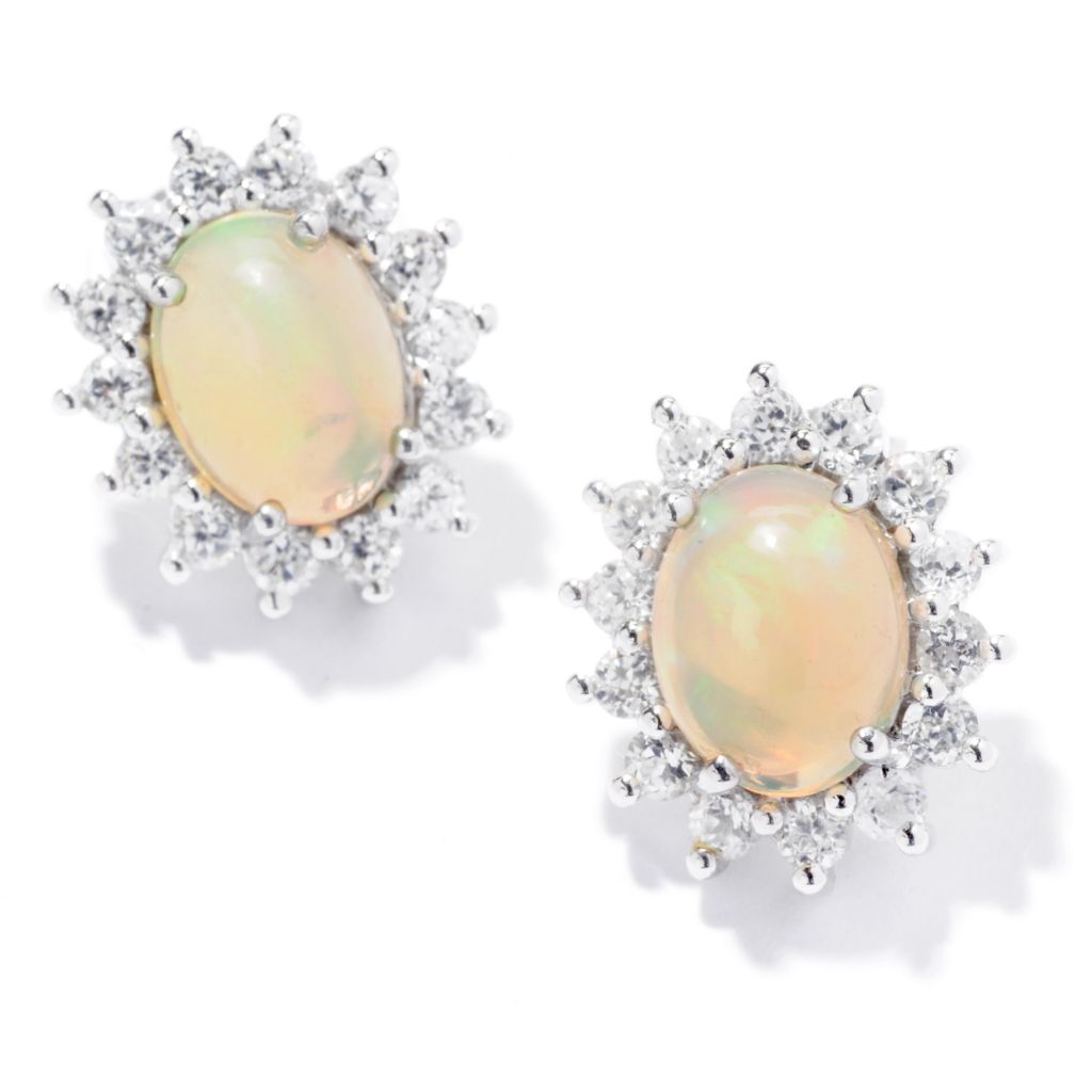 120-720 - Gem Insider Sterling Silver 9 x 6mm Ethiopian Opal & White Zircon Earrings