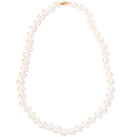 120-753 - 14K Gold 18'' 9-10mm Round Freshwater Cultured Pearl Necklace